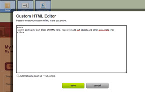 Screen Shot of Custom HTML editor